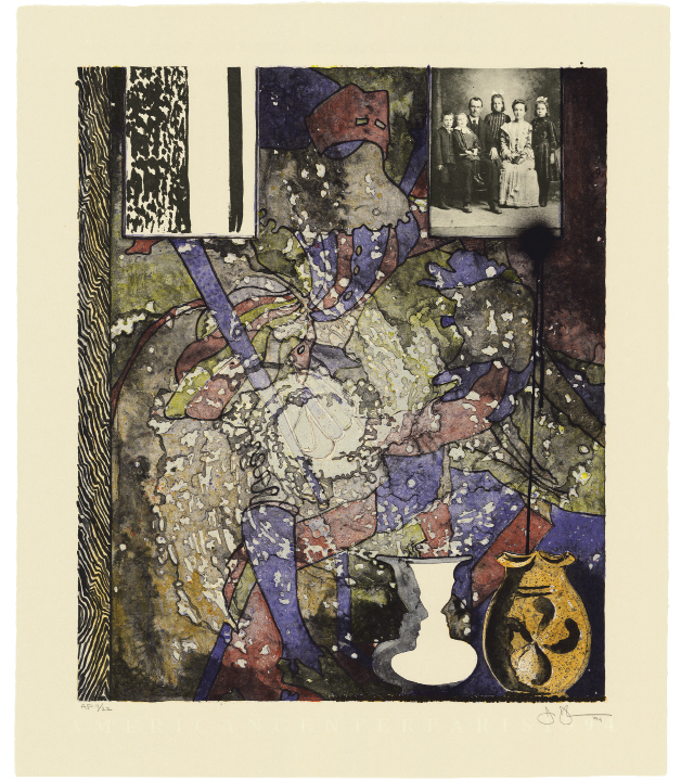 Untitled (American Center) by Jasper Johns, 1994, lithograph in eight colors, 36 1/4 x 30 1/2 inches, Edition 75, published by Universal Limited Art Editions