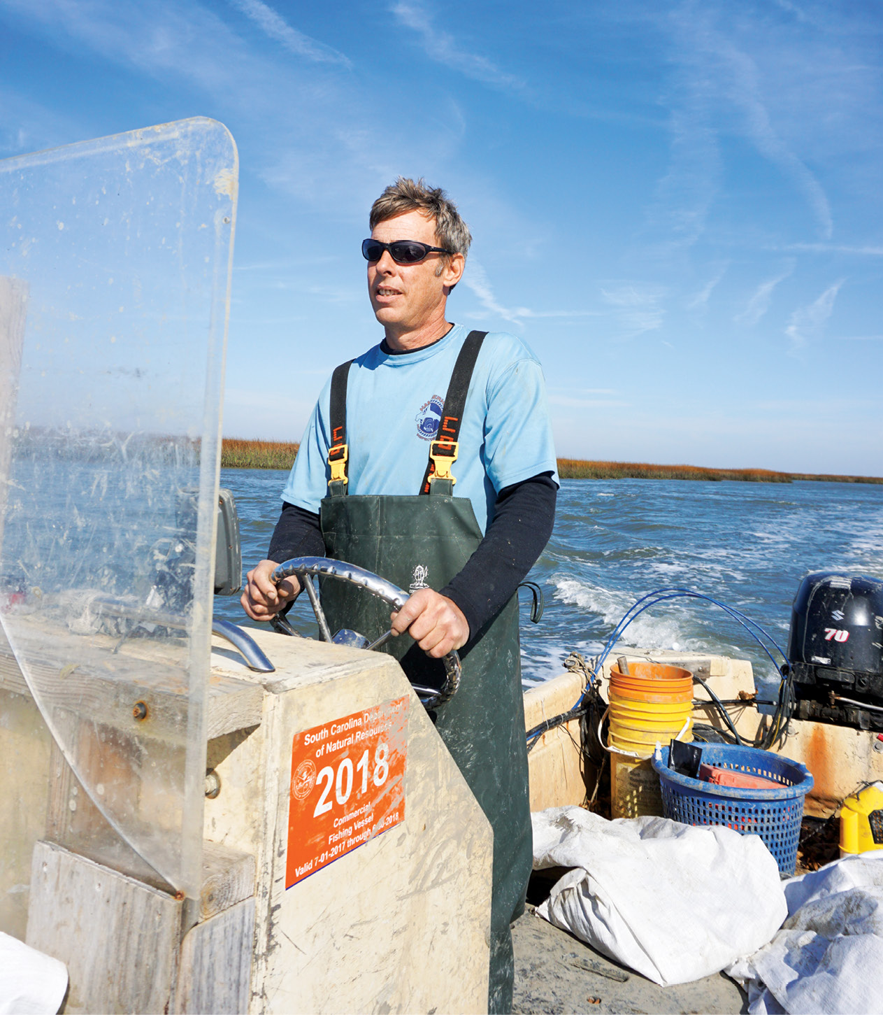 Jeff Spahr and his harvesting team could easily pick 40 bushels of oysters per day, but they typically stop at 10 to 20 bushels in order to keep their beds healthy.