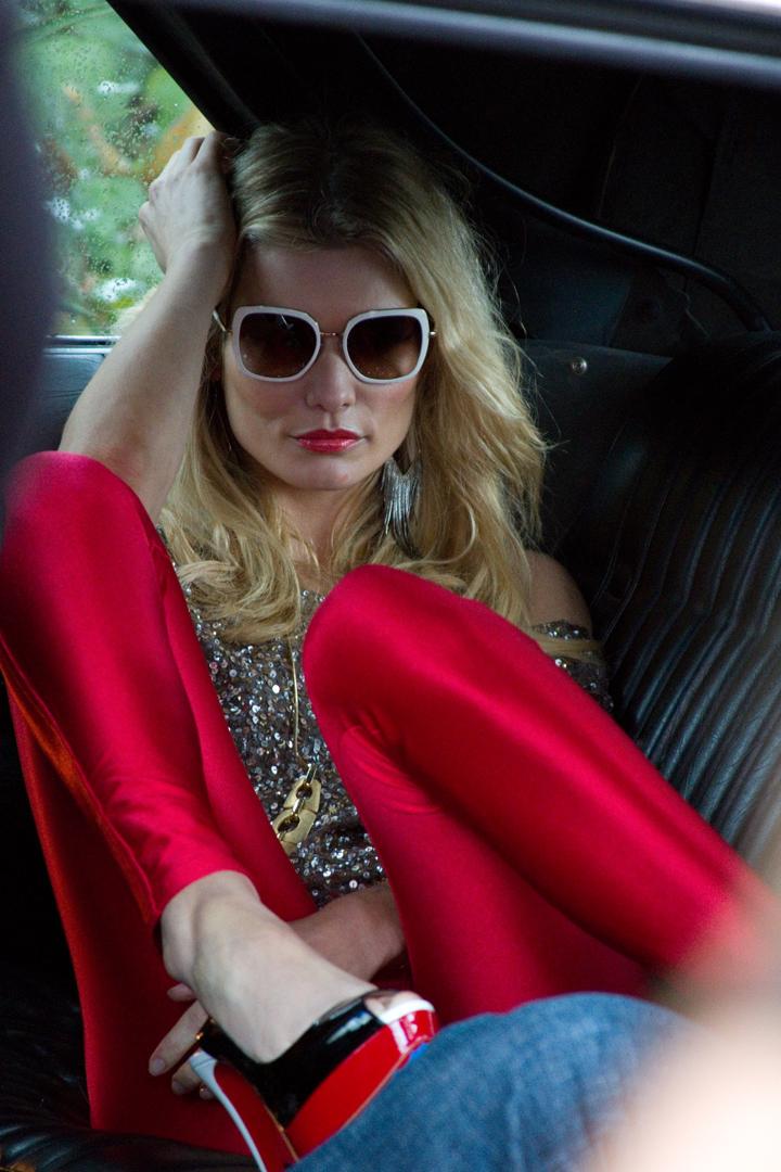 Prada sunglasses, Christian Louboutin heels; Photo by Jonathan Balliet