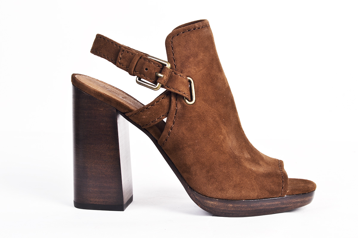 "Frye ""Karissa"" shield sling in ""wood,"" $298 at Shoes on King"