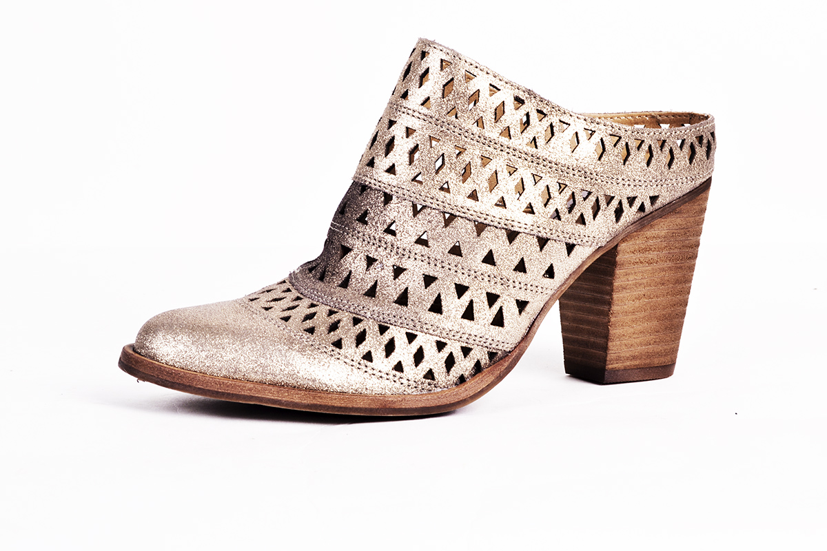 "Steve Madden ""Harmony"" mule in ""dusty gold,"" $109 at Belk"