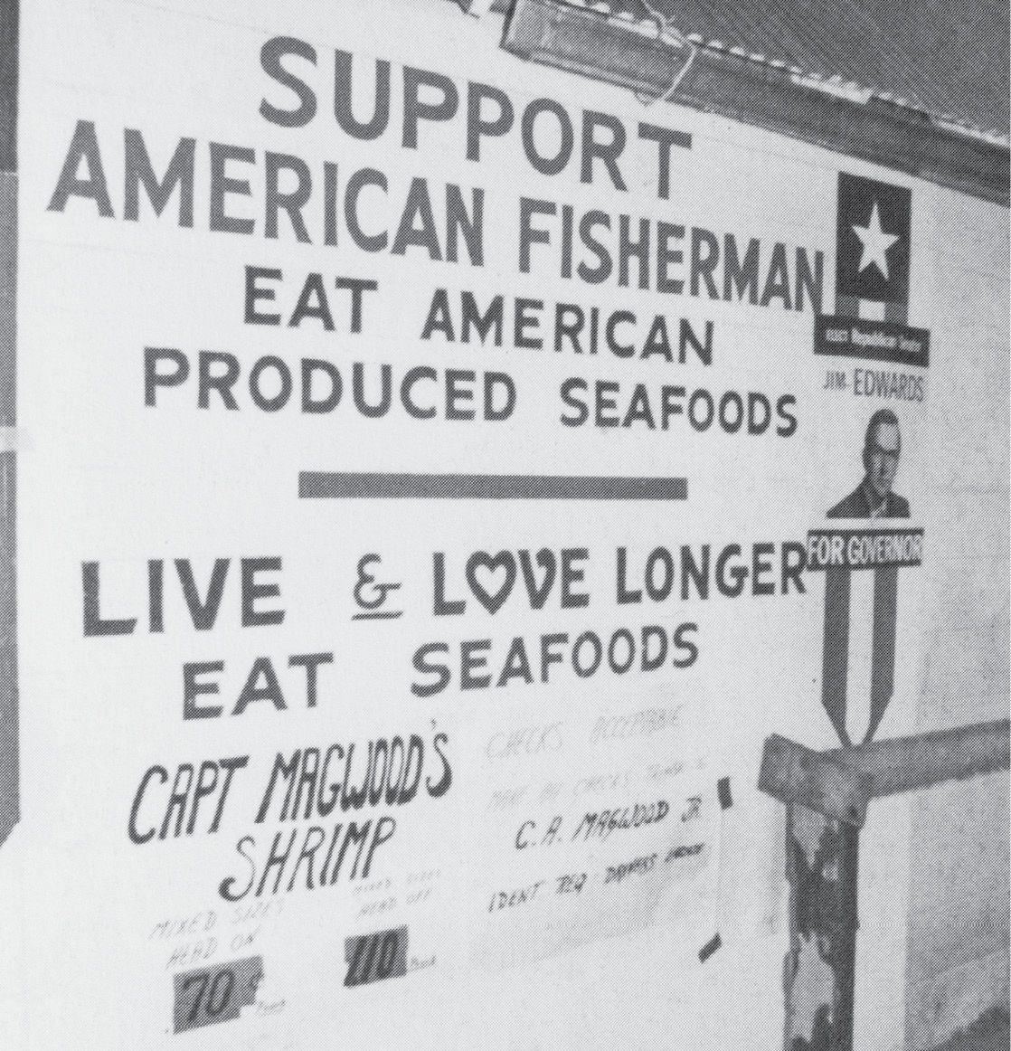 "The Magwoods have touted the ""buy local"" slogan for decades, as evidenced by the sign at C A Magwood Jr & Sons seafood and dock."
