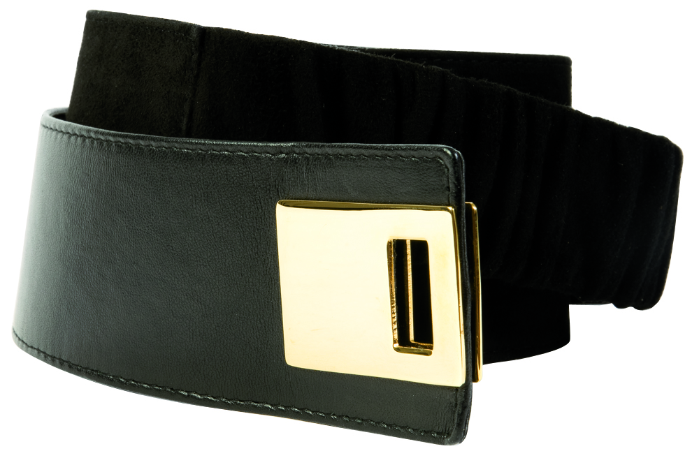 Suzi Roher leather belt with elastic band and velcro fasten, $246 at Anne's