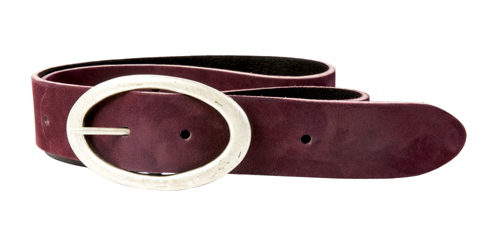 "Sam Brown Crafted by Cowboysbelt suede belt in ""aubergine"", $68 at Lori + Lulu"