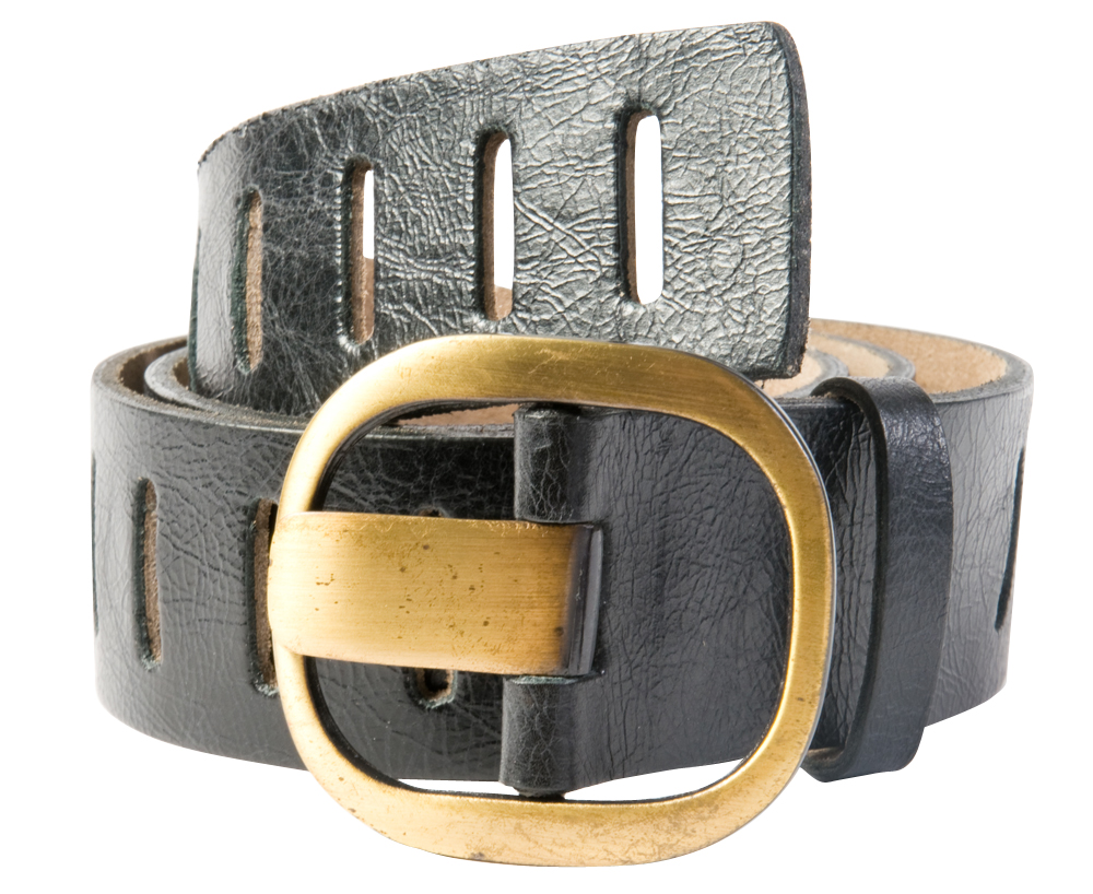 "ADA Collecation ""Alexia"" is a leather belt with vertical cutouts along the belt, $99 at Luna"