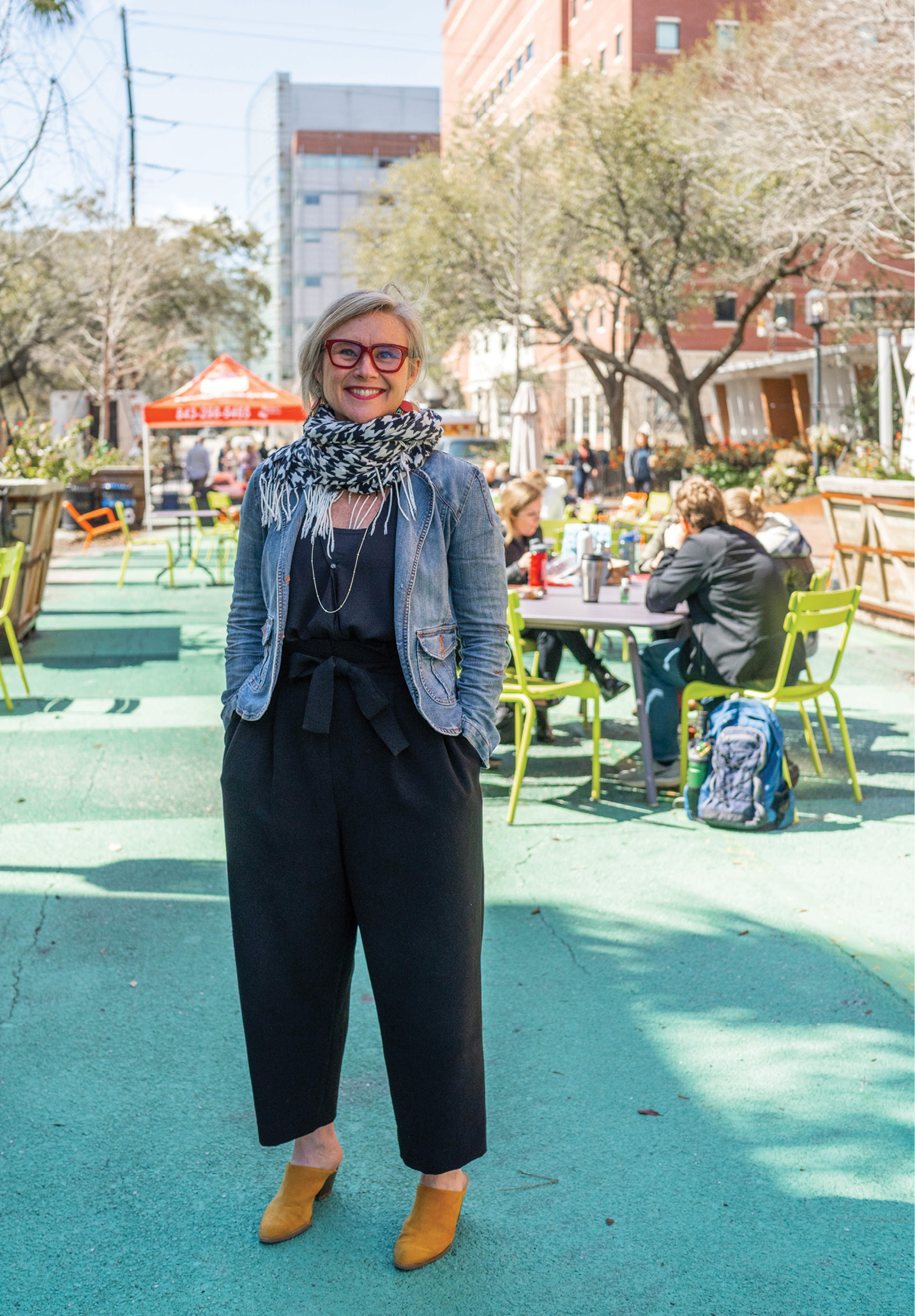 """Livability is shaped by what happens in the public realm,"" says the director of the Urban Land Institute's South Carolina chapter, Amy Barrett, shown here at the pedestrian mall on MUSC's campus, public space reclaimed from a street closed to car traffic."