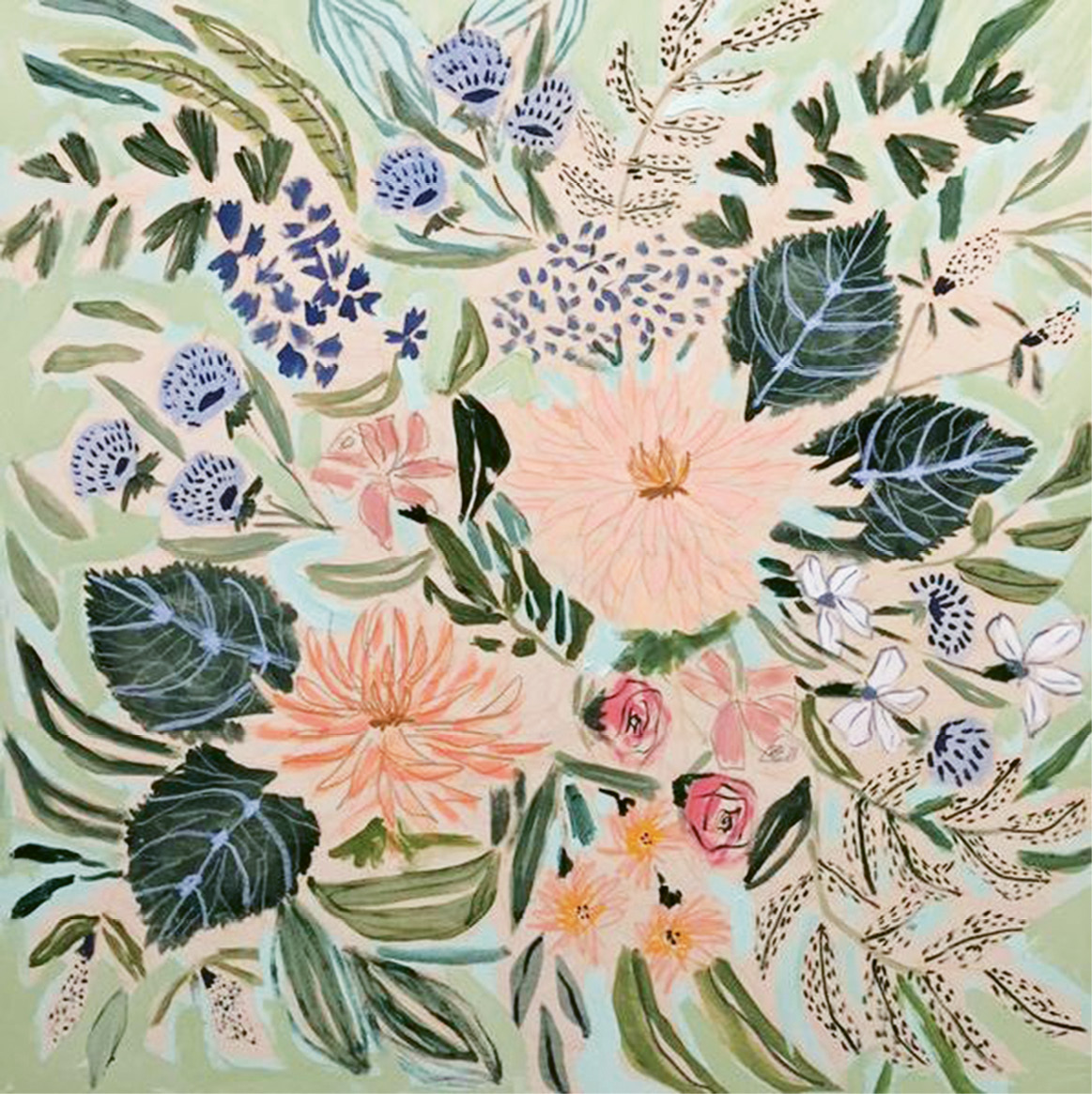 Painting (Flowers for Kate by Lulie Wallace, acrylic on canvas, 36 x 36 inches), $1,300 at luliewallace.com