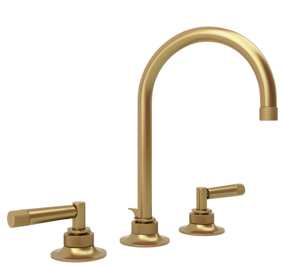 """""""Graceline"""" faucet in French brass by Michael Berman for ROHL, $874 at Moluf's"""
