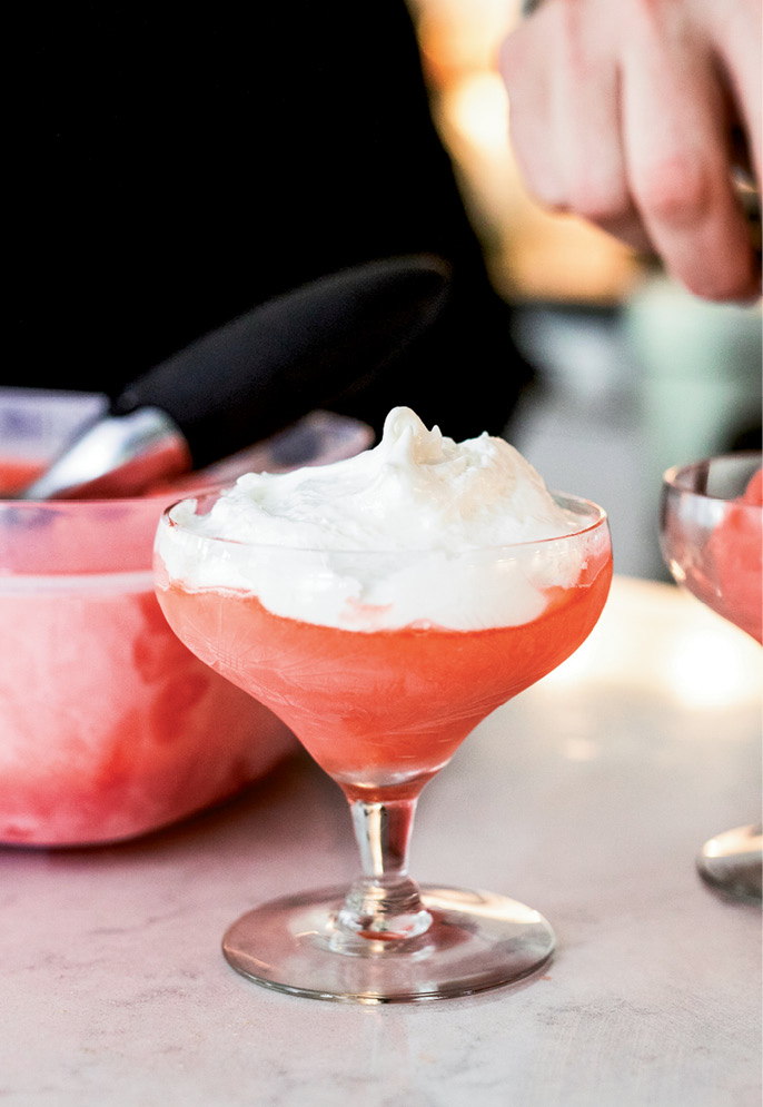 The alcohol in the recipe keeps the sorbet from freezing rock hard, making it easy to scoop.