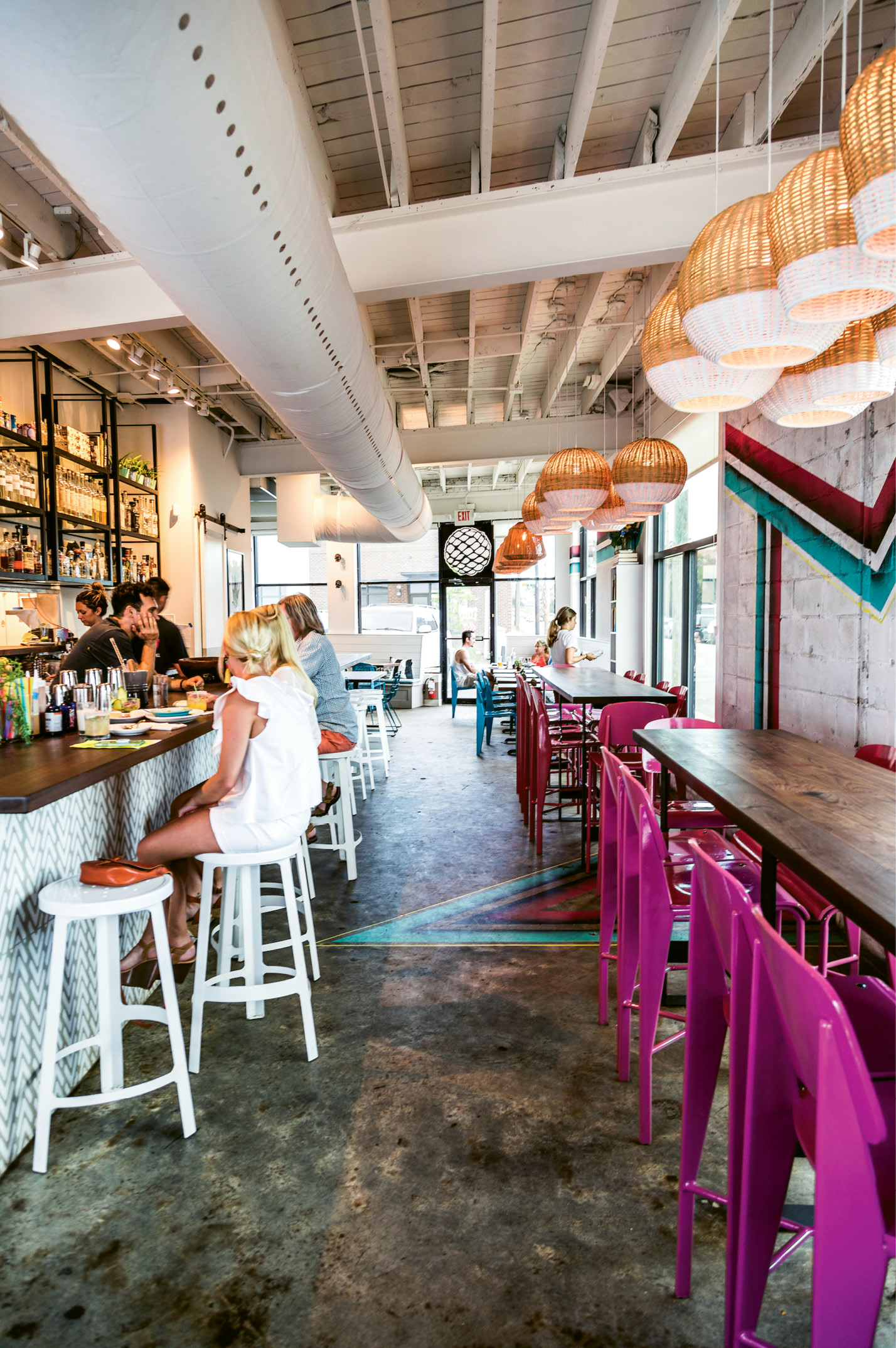 FIESTA FEEL: Housed in the former Zappo's Pizza spot on King Street, Pancito & Lefty may not call attention to itself from the sidewalk, but bright interior walls popping with magenta and teal put diners in a lively mood. At the counter, bartenders mix smoky mezcal-based cocktails and margaritas.