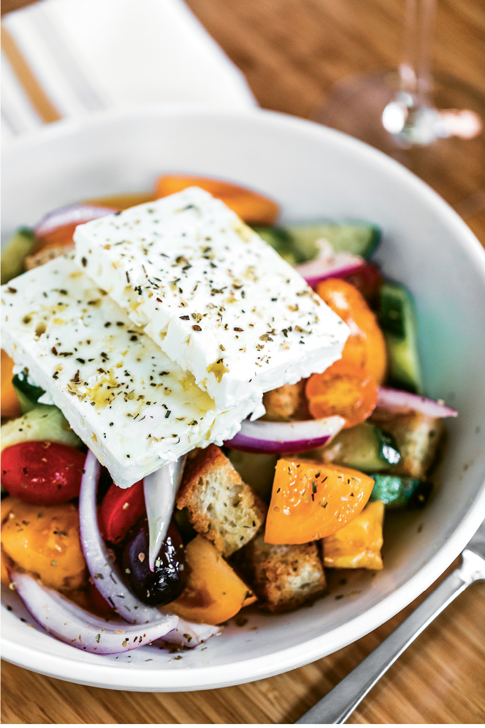 Greek salad with feta squares