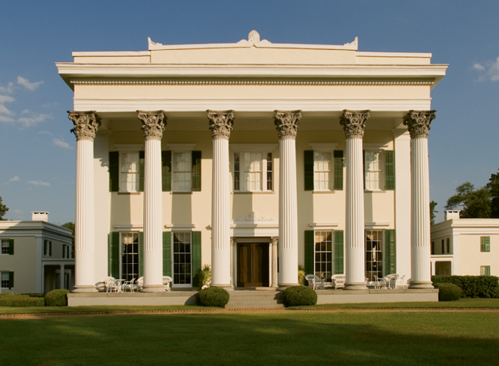 Millford Plantation rises like a mirage from the forested hills north of the Santee River.