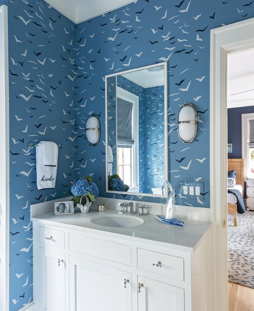 """Scion """"Flight"""" wallpaper in the en suite bath."""