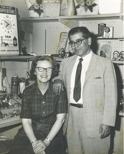 "Beach store owner ""Mr. John"" Chrysostom with his wife, Rachel, who was a pharmacist in the shop"