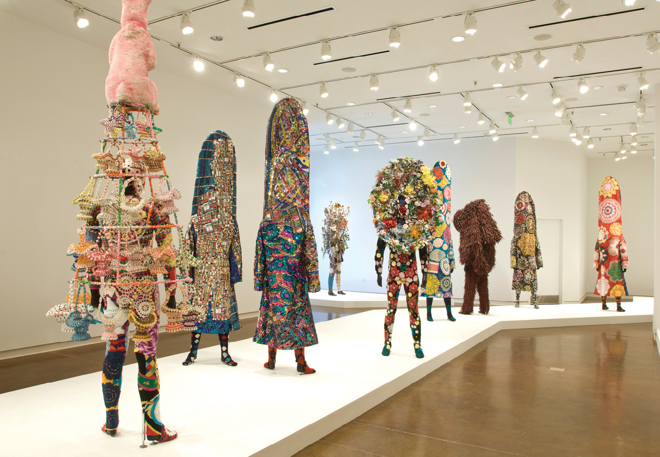 "Nick Cave's Soundsuits in the ""Call and Response: Africa to America"" exhibit in 2010"
