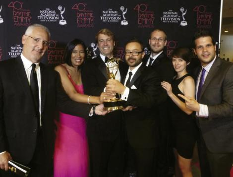 And the Emmy Goes To: The Born to Explore team (from left to right) Andy Ames, Mercedes Velgot, Richard Wiese, John Barnhardt, Greg Harriott, Laura Cunningham, and Jay Katz at the Daytime Emmys in June; The trophy was bestowed upon Barnhardt and B-camera operator Harriott for Outstanding Achievement in Single Camera Photography.