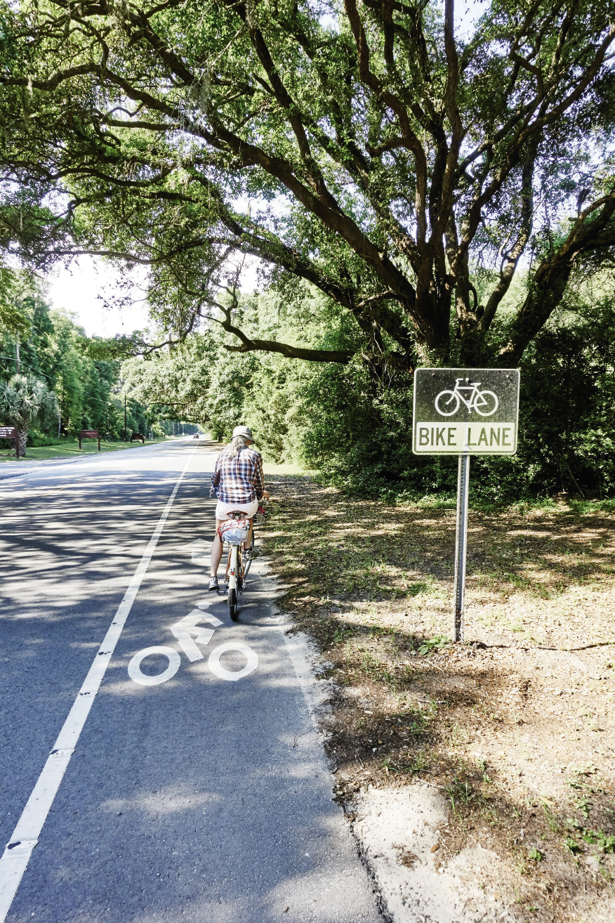 Edisto Island: The final miles of Highway 174 are well-marked for cyclists; one of the oak-shaded campsites at Edisto Beach State Park; pedaling here offers views of tidal creeks on a mix of paved and sandy roads and paths in the maritime forest.