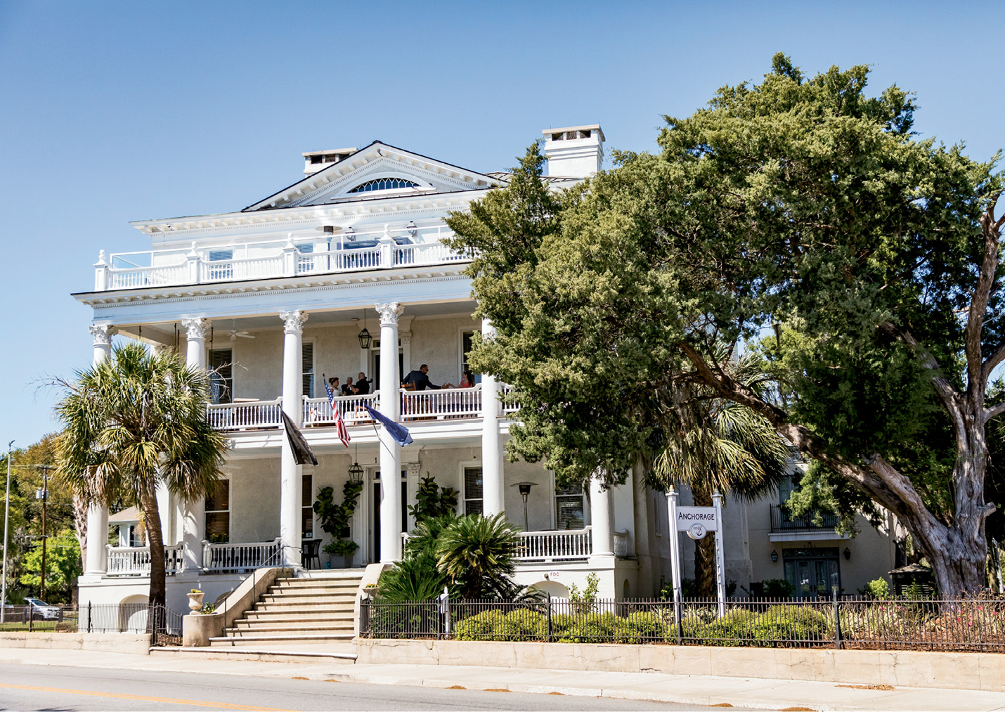 The Anchorage 1770, an 18th-century Greek Revival mansion turned into a 15-room inn in 2015, offers prime views of the bay—plus sweet breezes.
