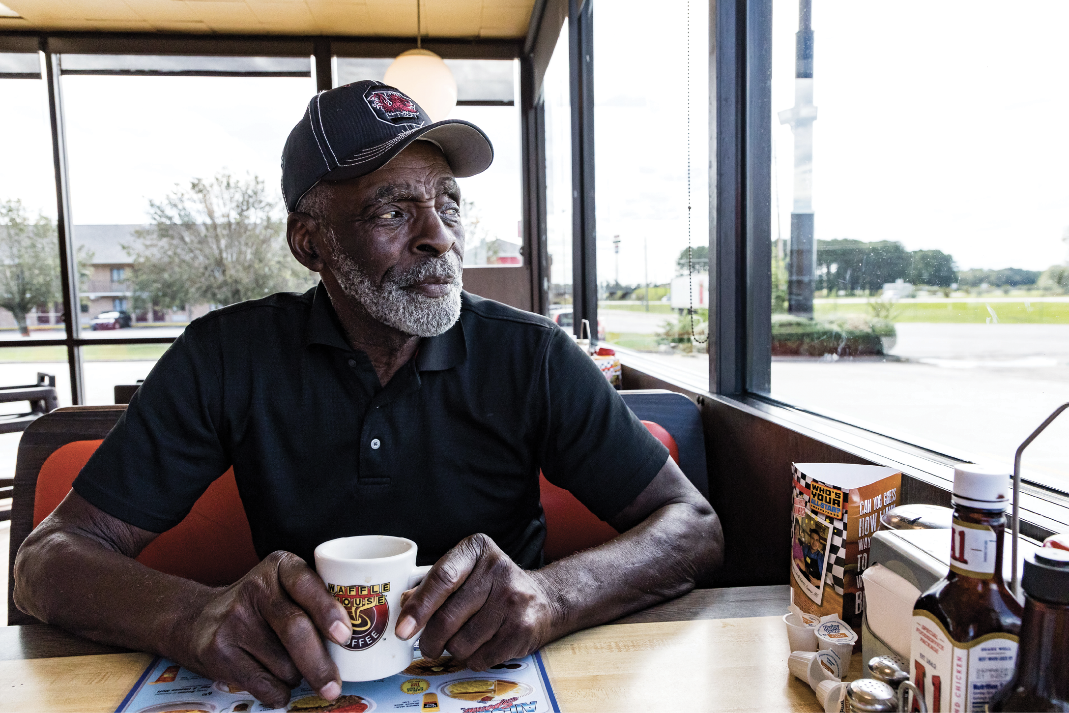 "Stopping into the Waffle House in Bishopville for coffee or a meal—maybe the ""Pearl Special""—is a daily ritual for Fryar. It also gives him a chance to check on the shrubs out front that he maintains in his topiary style."