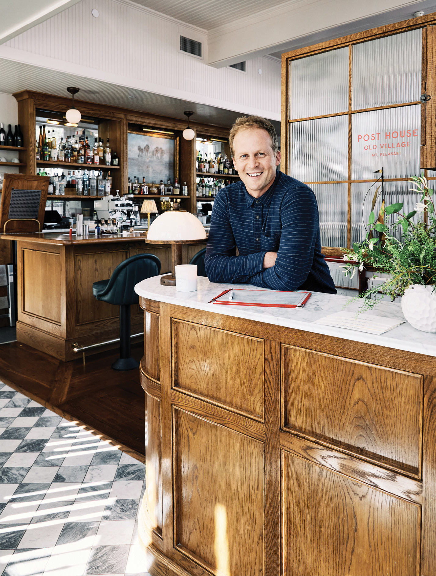 """The Post House lives on as """"a restaurant with rooms above—a very English vision,"""" says Ben. As such, both dining and overnight guests check in at a tidy reception desk just inside the front door."""