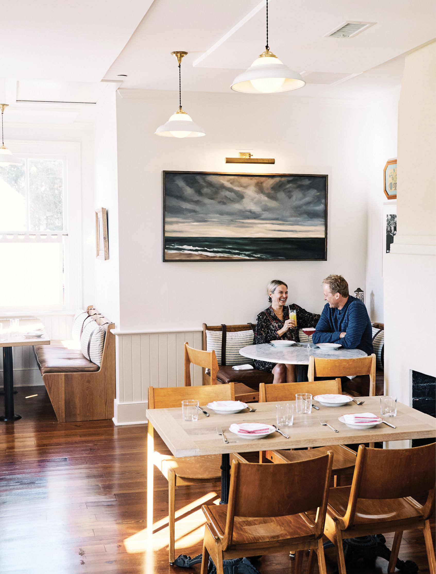 """Ben says that table 45, """"in the back corner, tucked away by the fireplace with all the cool art,""""  is one of his favorite spots."""