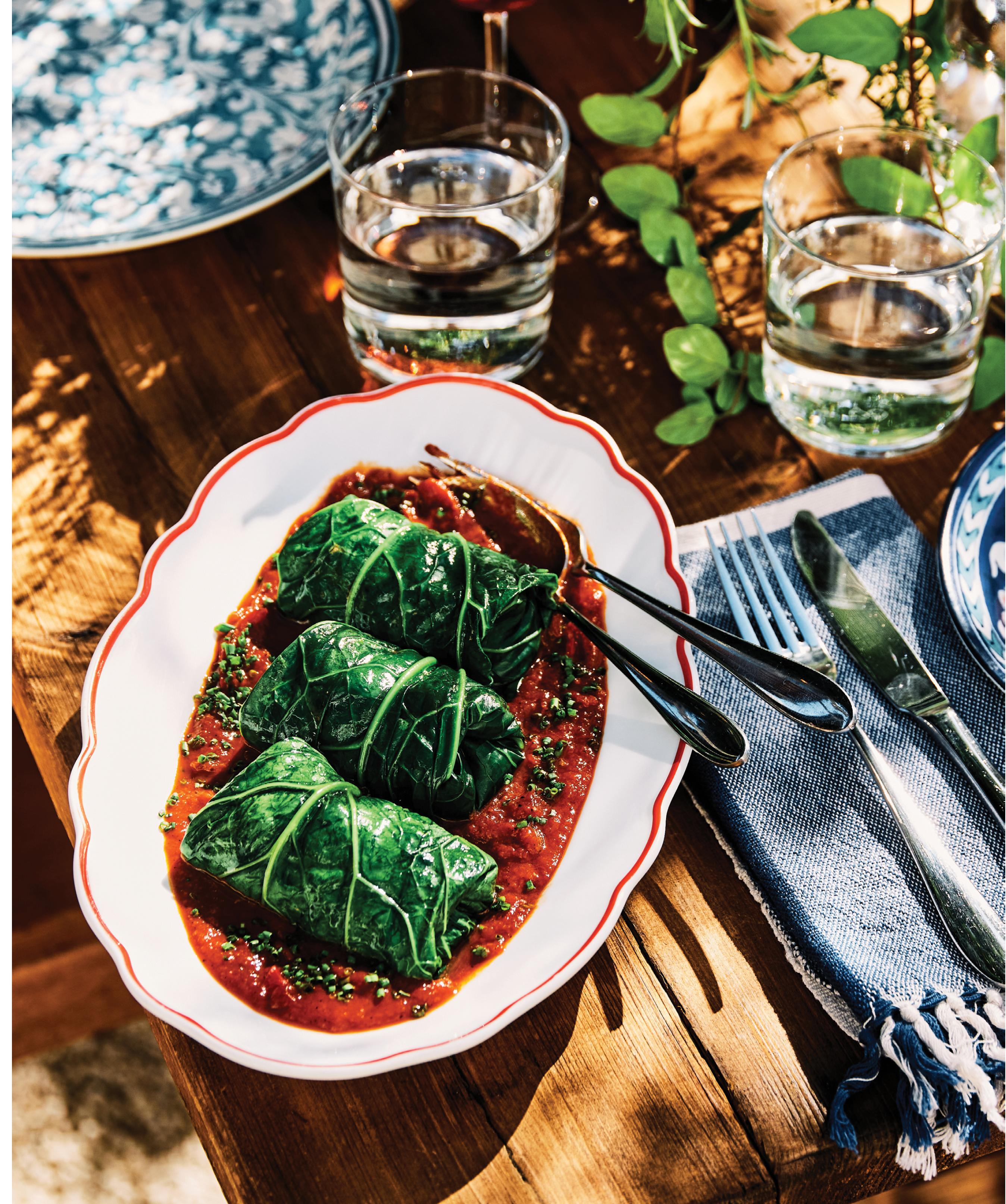Basic Kitchen's Sea Island Red Pea-Stuffed Bradford Collards
