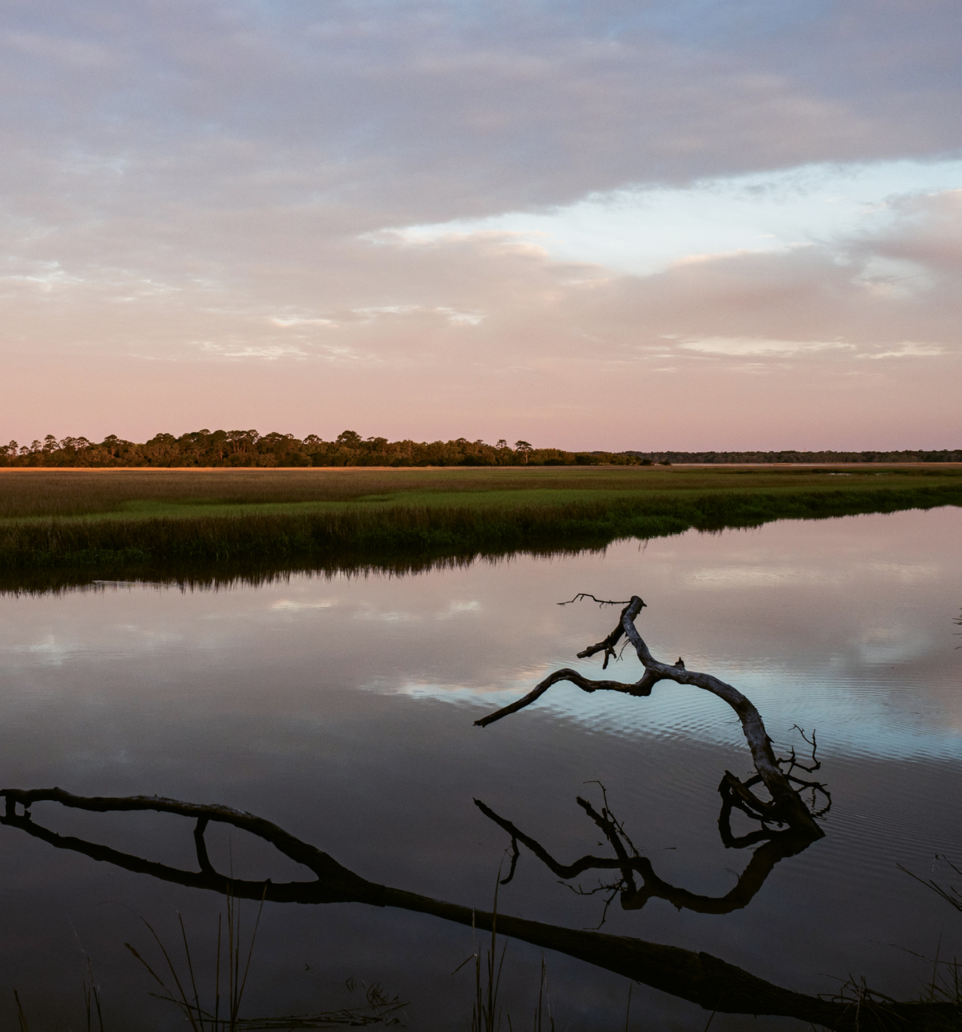 Sunset on Mosquito Creek, where tides rise and fall six to eight feet daily.