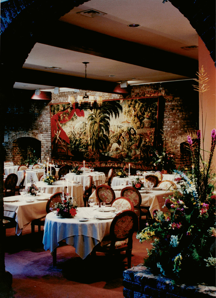 The interior of the thoroughly French Philippe Million Taverne Historique at 2 Unity Alley (today's McCrady's Tavern)