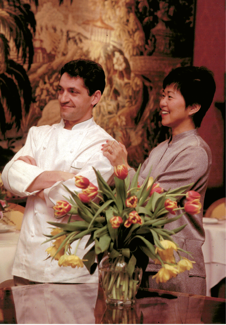 Chef-owner José de Anacleto in the dining room with his wife, Su-Chen; the couple resides in Albertville, France, where they own and operate Hôtel Restaurant Million.