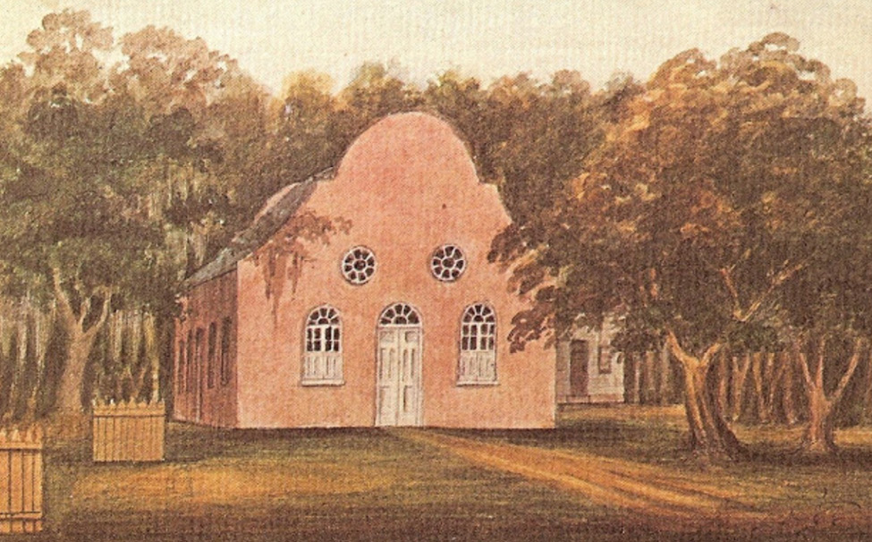 Pon Pon Chapel: The Church in Saint Bartholomew's Parish (watercolor and ink, 1796) by Charles Fraser; courtesy of Gibbes Museum of Art