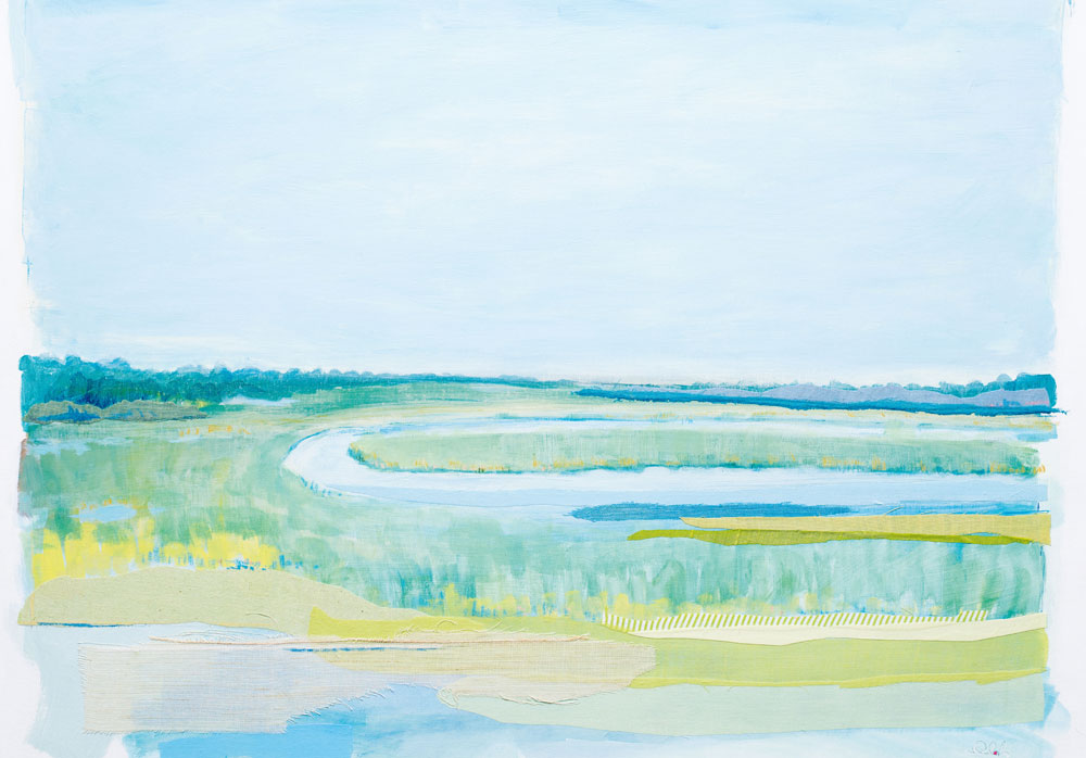 Return to Kiawah by Karin Olah (2015; fabric, gouache, acrylic, pastel, and pencil on linen, 30 x 36 inches)