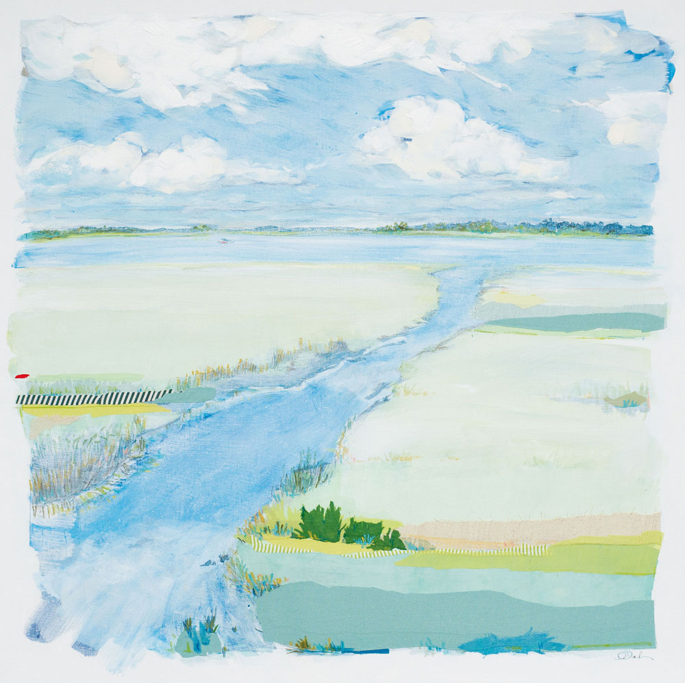 Tidal Creek by Karin Olah (2015; fabric, gouache, acrylic, pastel, and pencil on linen;  36 x 36 inches)