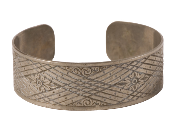 Vintage Aztec silver cuff with carved detailing, $52 at JLINSNIDER