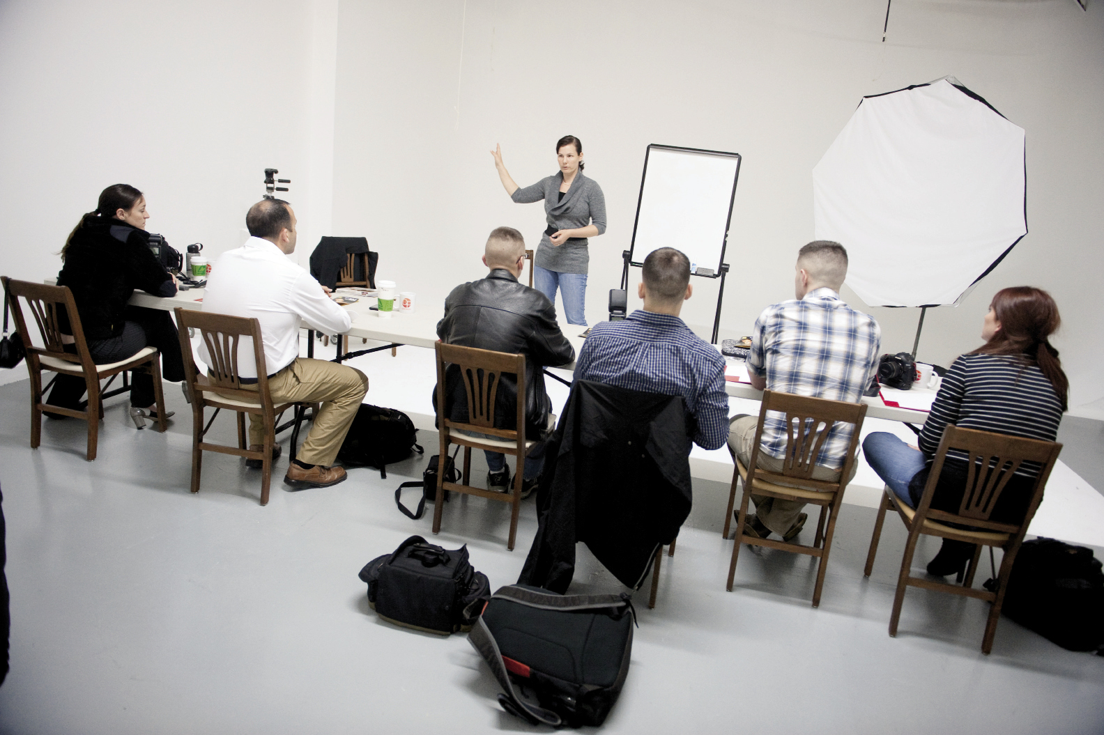 Teaching a studio lighting class to a group of Marine Corps photographers from Beaufort, South Carolina