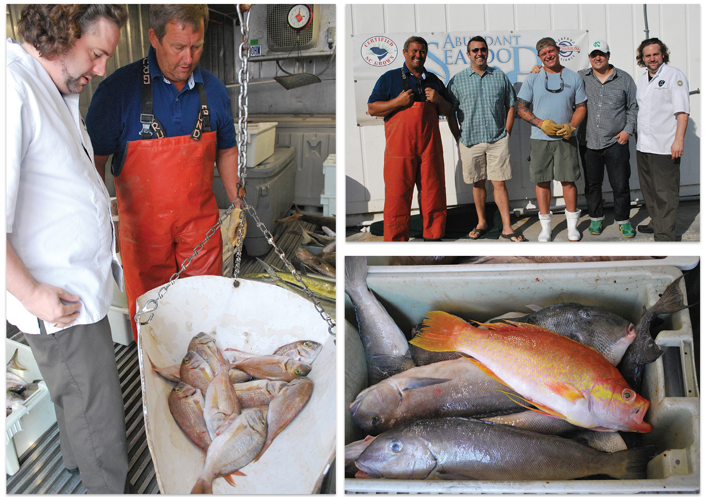 For about a decade, local chefs have vied for Mark's diverse and sustainably caught seafood. (Left to right) NICO chef-owner Nico Romo eyes some red porgy; Mark with The Grocery chef-owner Kevin Johnson, private chef Aaron Swersky, FIG's Jason Stanhope, and Romo