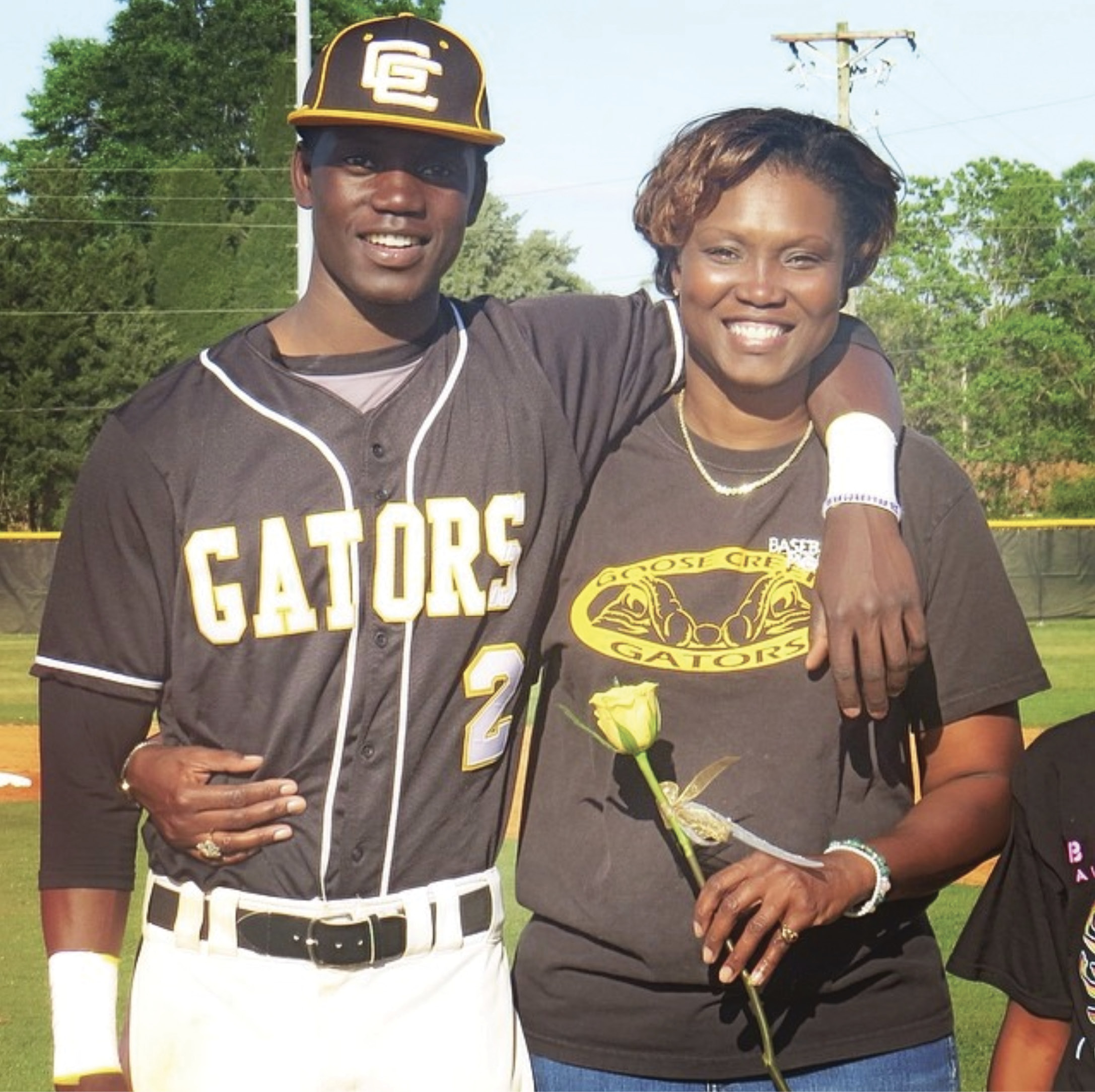 Most Valuable Mom: Chris pictured with his mom in April 2014 at Senior Night for Goose Creek High School, where he was a standout player before playing for Charleston Southern University. #MyMomIsTheRealMVP was a favorite hashtag for many of his social media posts prior to his mom's death