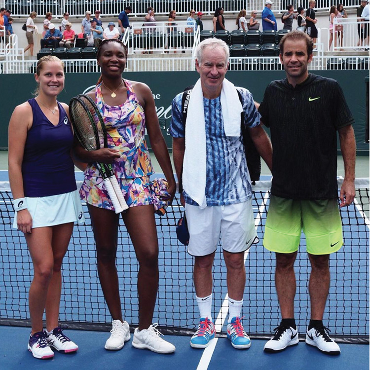 Playing with legends Venus Williams, John McEnroe, and Pete Sampras at The Greenbrier