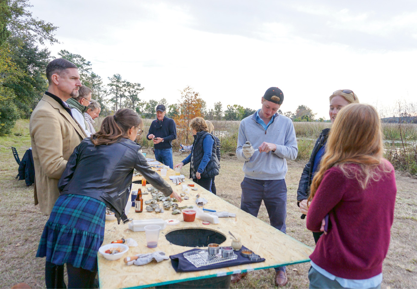 Annual Bull Point Plantation oyster roast in Seabrook, South Carolina.