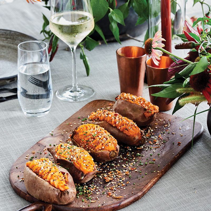 Twice-baked sweet potatoes with hot honey butter