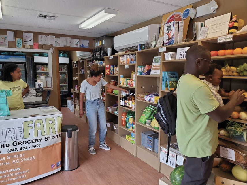 """The onsite grocery store promotes healthy eating, offering freshly harvested organic vegetables, kombucha, and other local and health-oriented products—as well as """"neck bones and potato chips,"""" adds Jenkins, """"we don't judge people based on their food choices."""""""