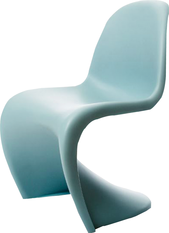 """""""Panton"""" chair in """"ice blue"""" by Vitra, price upon request at Carolina Business Interiors"""