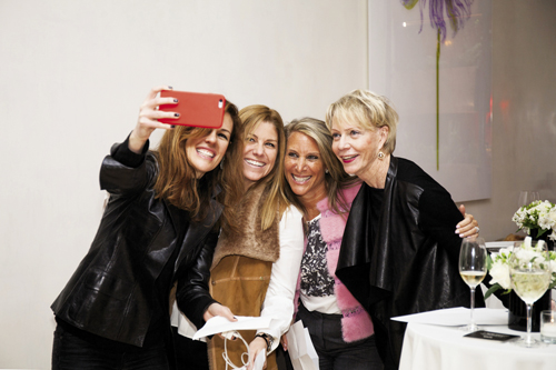 An FFF(F) selfie souvenir with former AOL chief marketing officer Erika Nardini, Wired publisher Kim Kelleher, Ipsos CEO Shelley Zalis, and Millard's mentor, Cathie Black