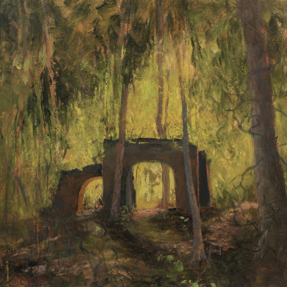 El Dorado (acrylic on canvas, 40 x 40 inches, 2019) was based on a plantation ruin near McClellanville.