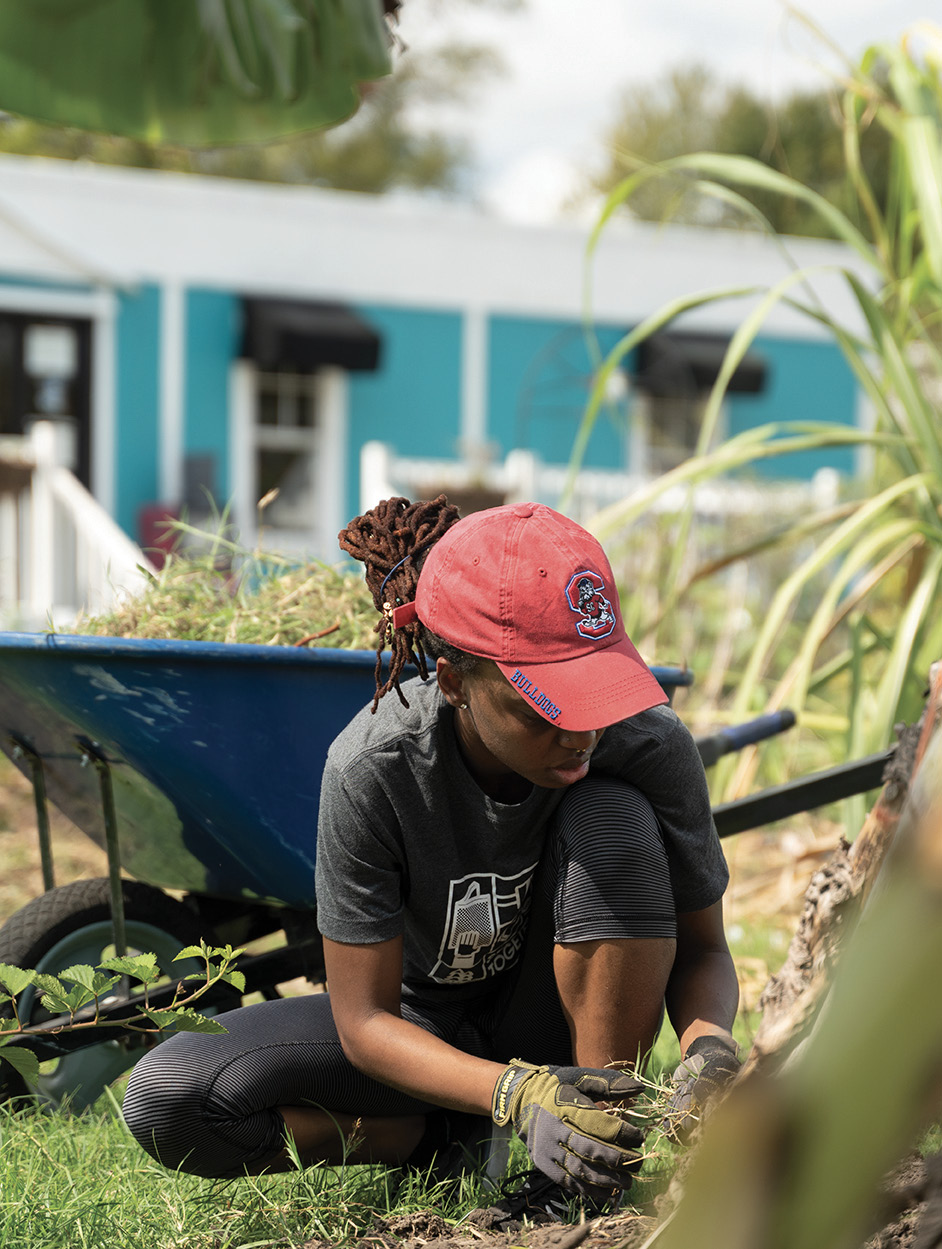 Volunteers help planting and tending at the farm during workdays held every third Saturday.