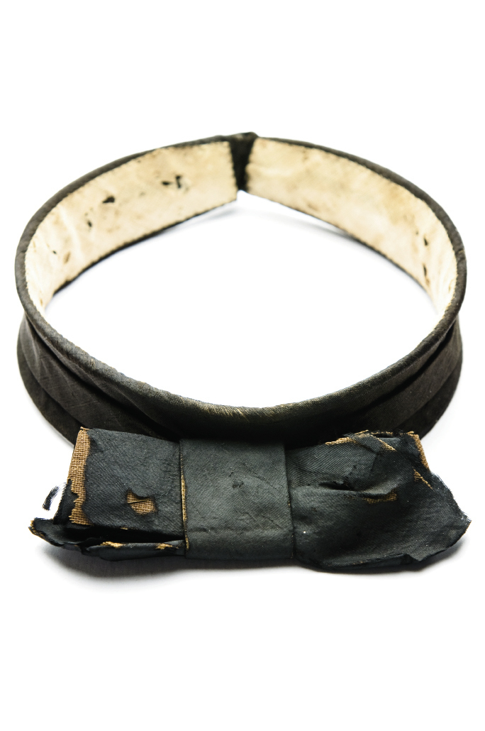 A FORMAL AFFAIR Mid-19th century versions—like this one worn by Benjamin M. Strobel (1818-1894) of Charleston—had a stiff band around the neck with a bow attached in front.
