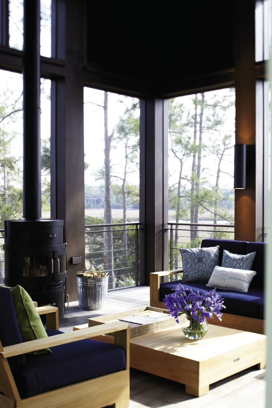 The screened porch off the living room