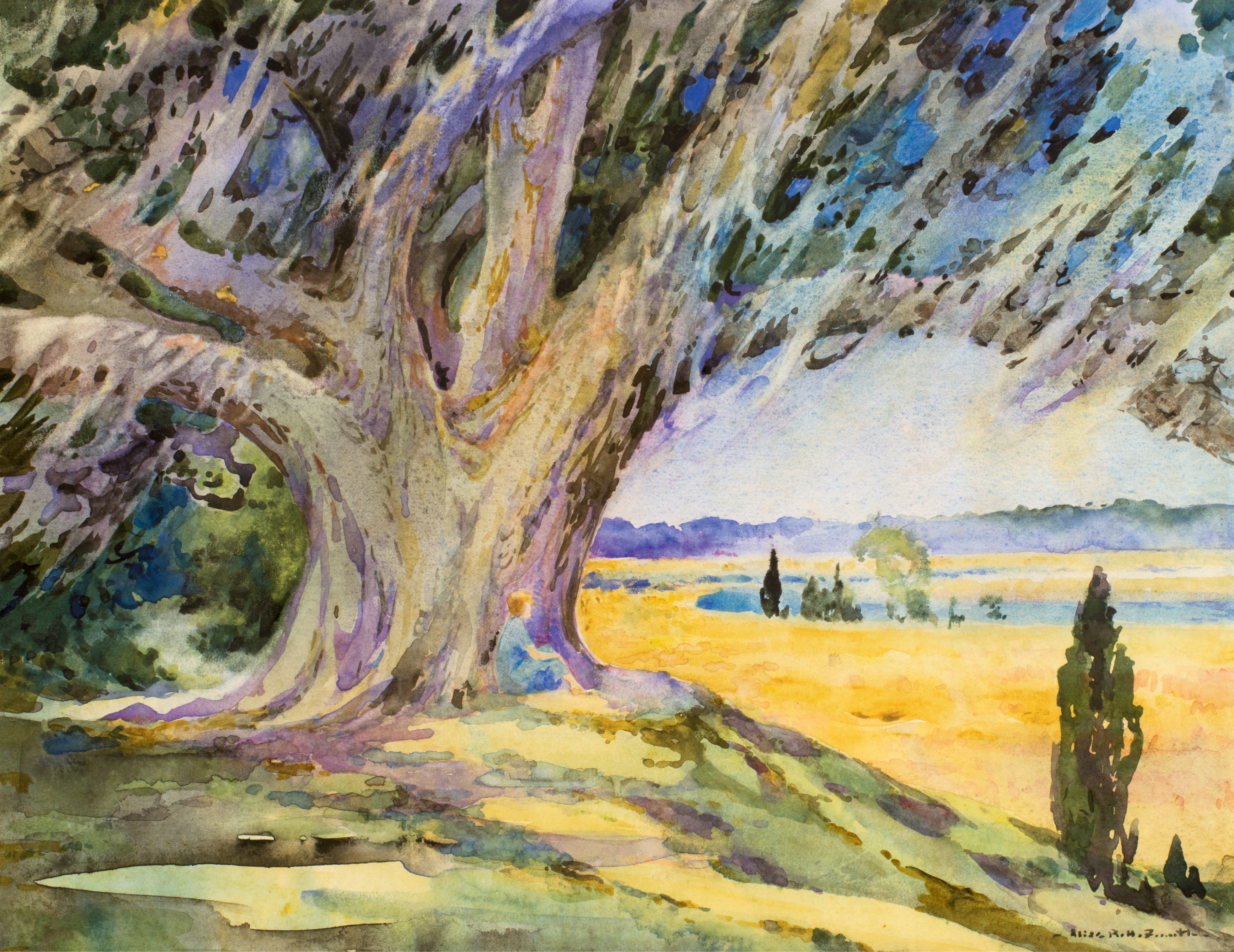 Middleton Oak and Rice Field with Miss Josephine Smith	(watercolor, 1924, courtesy of Charles H. P. Duell)