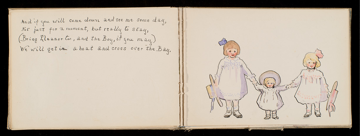 Pages from a children's book with text and watercolor illustrations created by Alice as a birthday gift for her niece Caroline Ravenel Mason Smith in 1912 (courtesy of Caroline Prouty Smith)