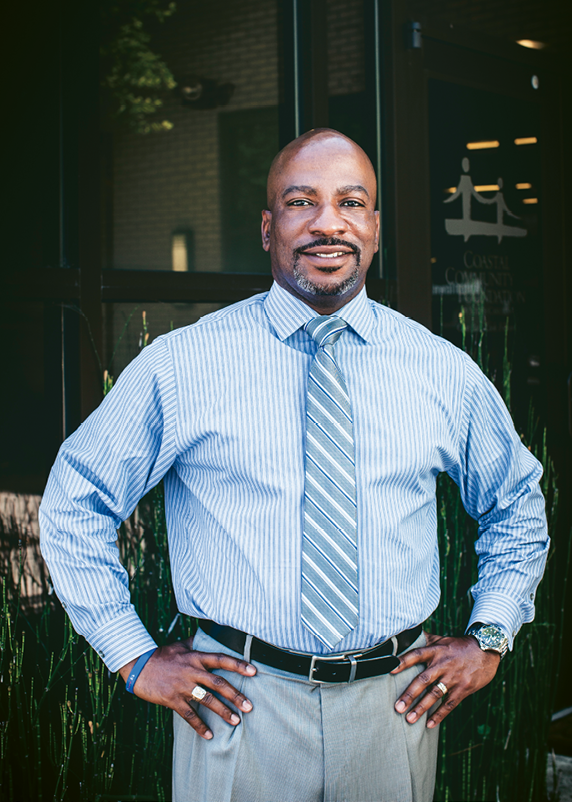 Leading by Example: Darrin Goss Sr., the new CEO of Coastal Community Foundation believes that healing in our broader community begins in part by looking inward, at diversity and equity in our own workplaces and organizations. Photograph by Gately Williams