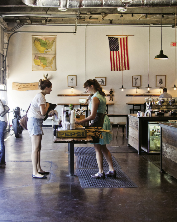 Coffee and artifacts of Americana at Barista Parlor, where vinyl records are always playing